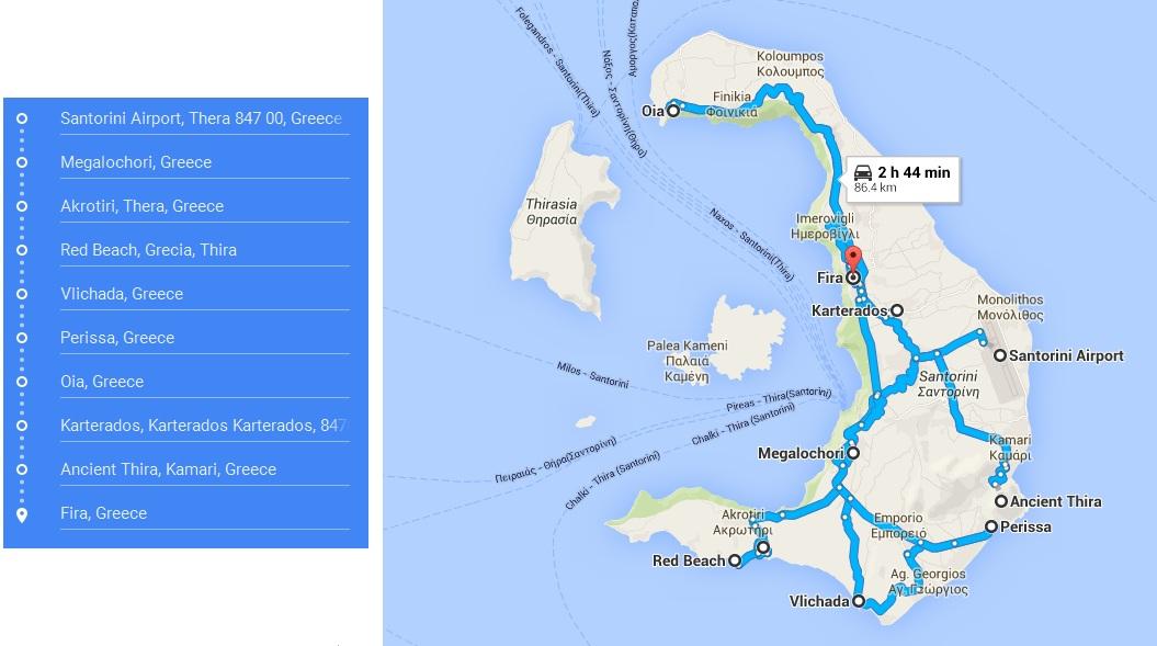 Santorini trasa